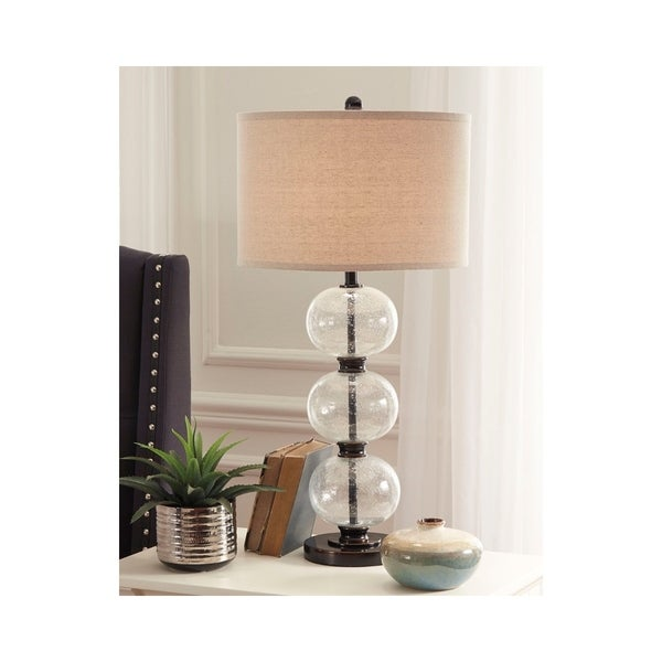 Maleko Clear and Bronze 34 Inch Table Lamp