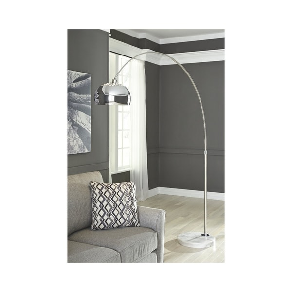 Signature Design by Ashley Osasco Silver Finish Arc Floor Lamp
