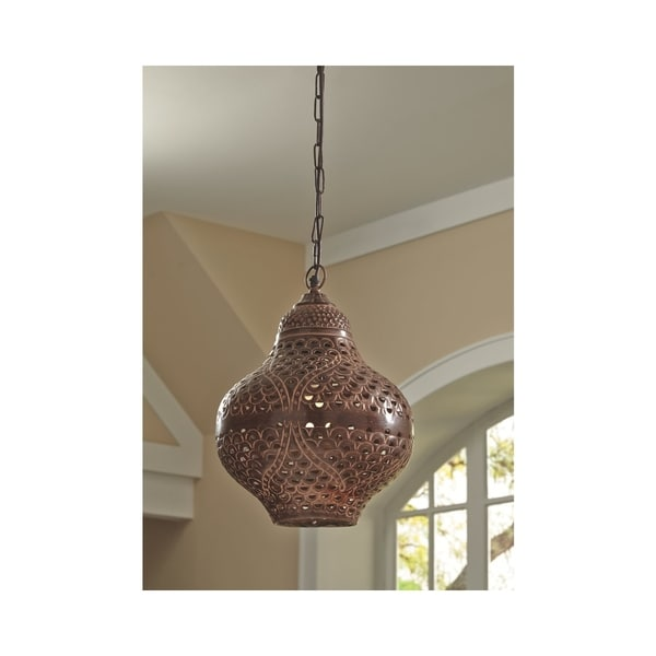 Jonelle Antique Brown 12 Inch Wide Pendant Light