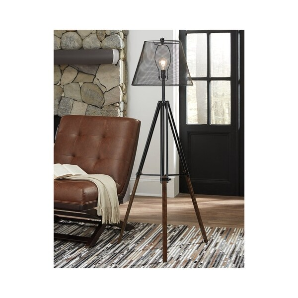 Signature Design by Ashley Leolyn Black and Brown Floor Lamp