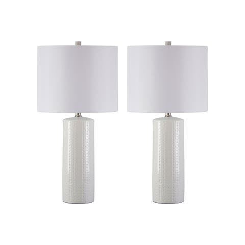 Steuben White 25 Inch Table Lamps - Set of 2