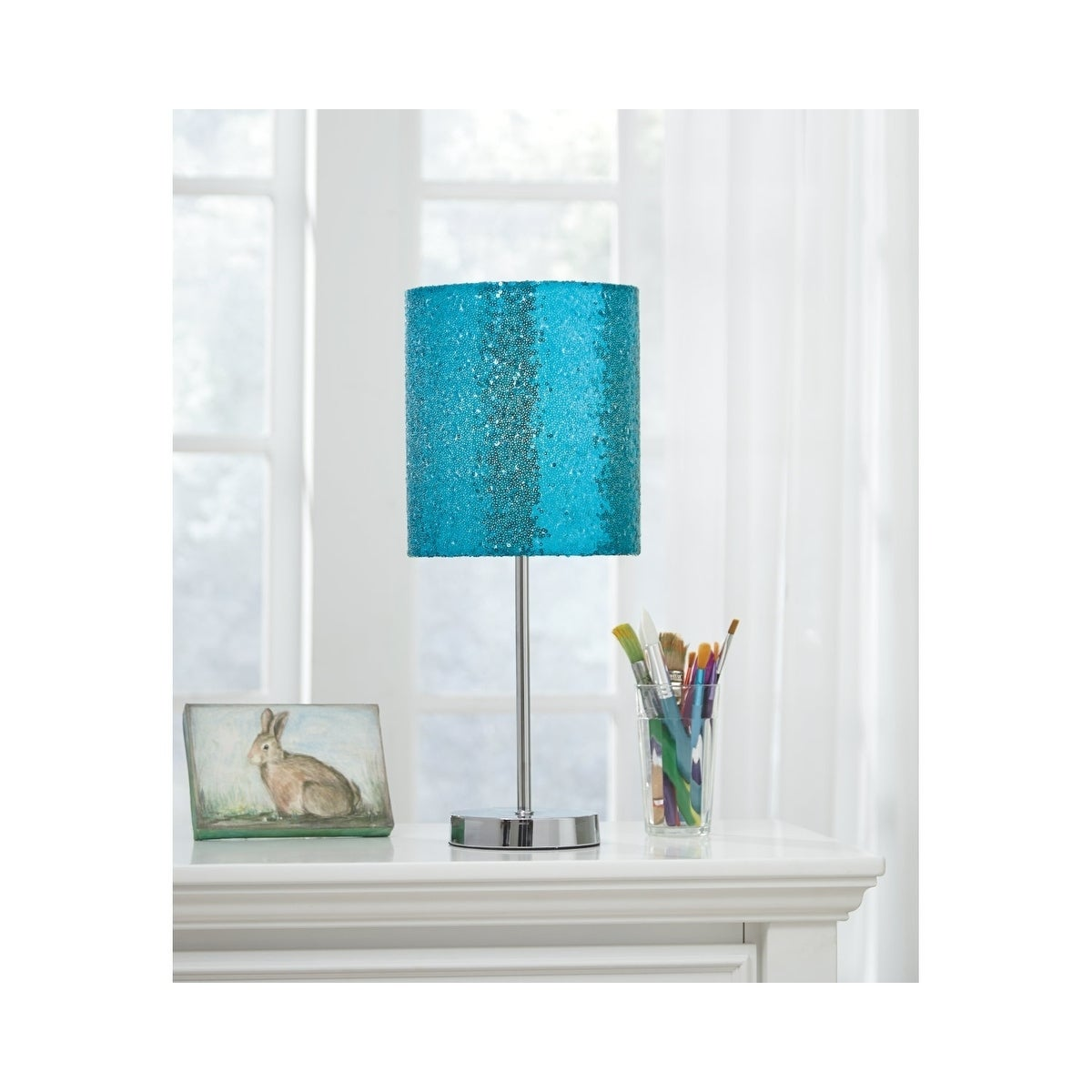 Maddy Teal and Silver Finish Table Lamp with Fabric Lamp Shade