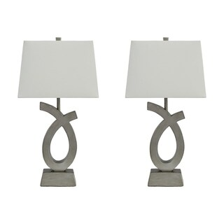 Amayeta Silver Finish 28 Inch Table Lamps Set of 2