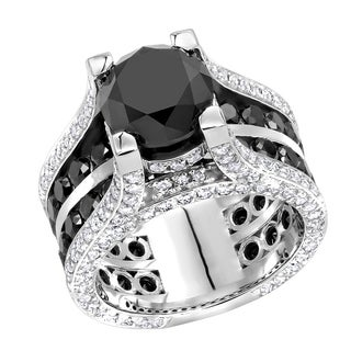 Link to Unique 14kt Gold Large White and Black Diamond Ring 12ctw by Luxurman Similar Items in Rings