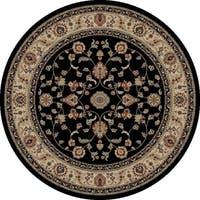 "Concord Global Jewel Marisa Black Round Rug - 5'3"" x 5'3"""