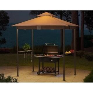 Sunjoy Brown Aluminum and Steel Wicker LED Light Grill Gazebo