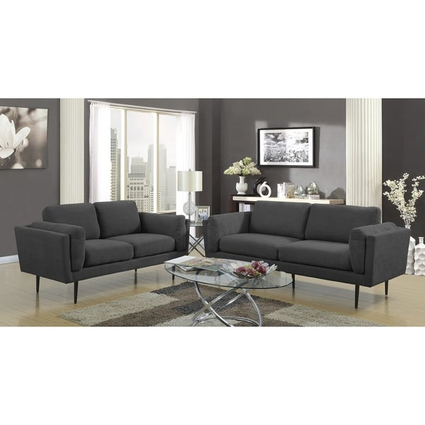 LYKE Home Colby Charcoal Sofa And Loveseat Set