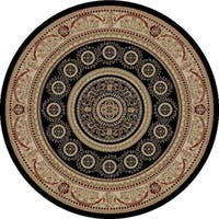 "Concord Global Jewel Creuse Black Round Rug - 5'3"" x 5'3"""