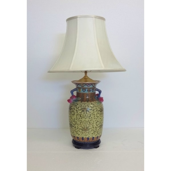 Yellow-Turquoise Empress Porcelain Table Lamp
