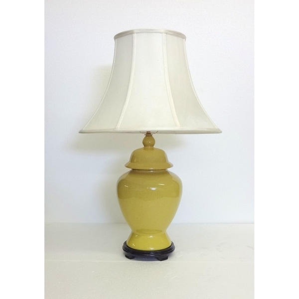 Yellow Crackle Temple Porcelain Jar Table Lamp