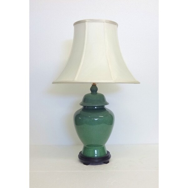 Jade Crackle Temple Porcelain Jar Table Lamp