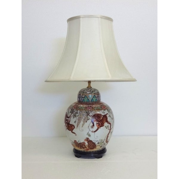 Monkeys Gourd Cover Porcelain Jar Table Lamp