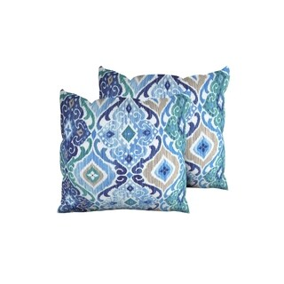 Cobalt Outdoor Throw Pillows Square Set of 2