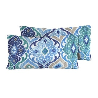 Cobalt Outdoor Throw Pillows Rectangle Set of 2