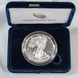 United States Treasury Mint Silver 1- ounce Proof Coin-American Eagle - Blue