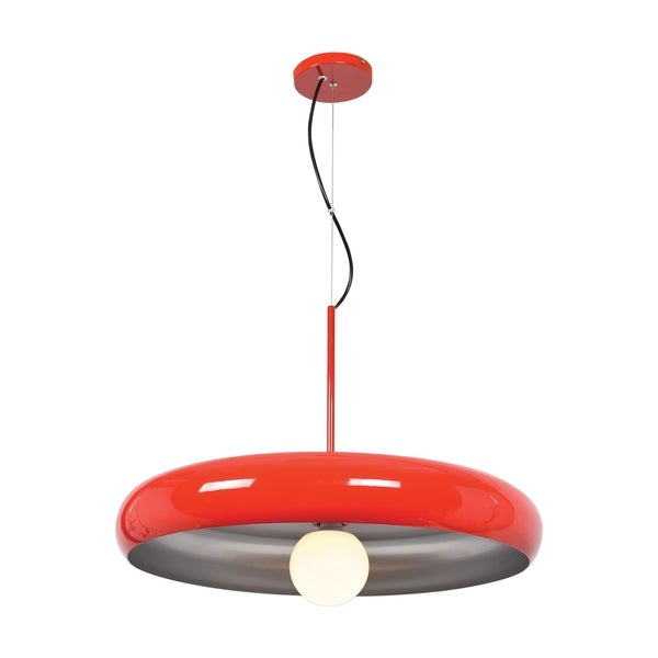 Access Lighting Bistro 1-light Red and Silver Large Round LED Pendant
