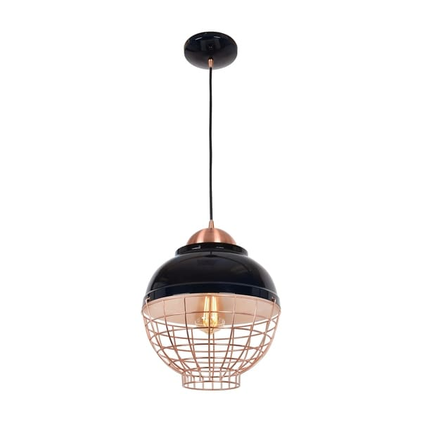 Access Lighting Dive Shiny Black and Copper 11-inch Small LED Pendant
