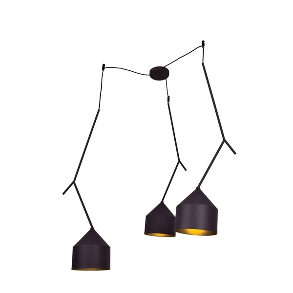 Access Lighting Pizzazz 3-light Black and Gold LED Oblong Pendant