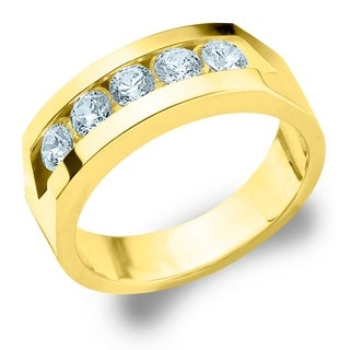Amore 10K Yellow Gold Men's 1CTTW Channel Set 5 Diamond Ring