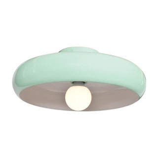 Access Lighting Bistro 1-light Mint Green and White Small Round LED Flush Mount