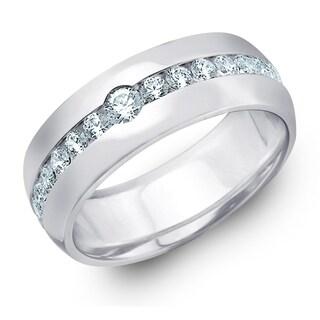 Amore 10K White Gold Men's 0.50 CTTW Center Stone Diamond Ring