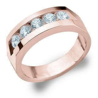 Amore 10K Rose Gold Men's 1CTTW Channel Set 5 Diamond Ring