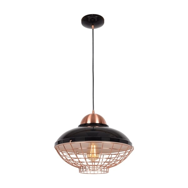 Access Lighting Dive Shiny Black and Copper 15-inch Small LED Pendant