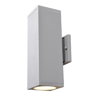 Access Lighting Bayside 2-light Satin Medium Square Cylinder LED Outdoor Wall Sconce