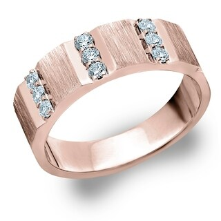 Amore 10K Rose Gold Men's .50CTTW 3 Row Diamond Wedding Band