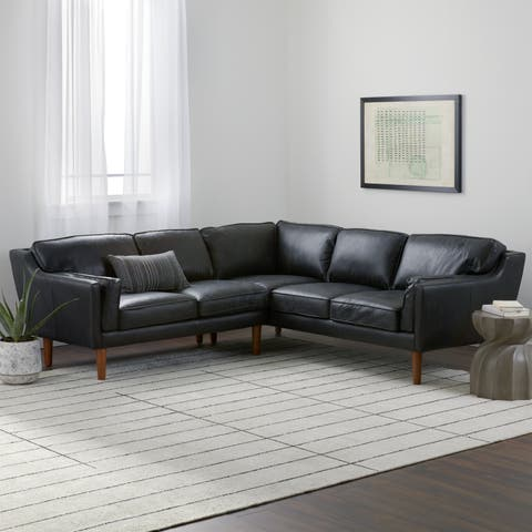 Strick & Bolton Beatnik Leather Sectional in Oxford Black