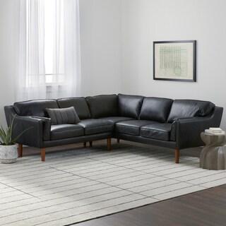 Jasper Laine Beatnik Leather Sectional in Oxford Black