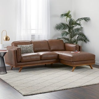 Jasper Laine Del Ray Leather Sectional in Oxford Tan