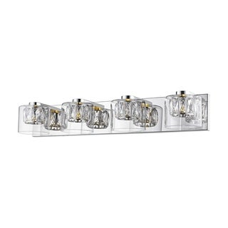 Access Lighting Private Collection 4-light Mirrored Stainless Steel LED Crystal Vanity