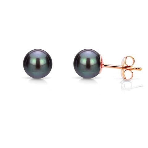 DaVonna 14k Gold 4-5mm Black Round Freshwater Pearl Stud Earrings