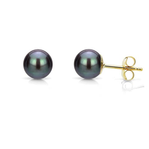 DaVonna 14k Gold 4-5mm Black Round Freshwater Pearl Stud Earrings