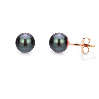 DaVonna 14k Gold 4-5 mm Black Round Freshwater Pearl Stud Earrings