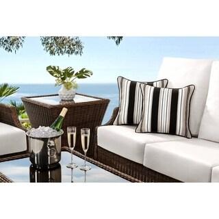 Sunjoy Lancaster Stripe Black/ Beige 2 Piece Outdoor Pillow Set