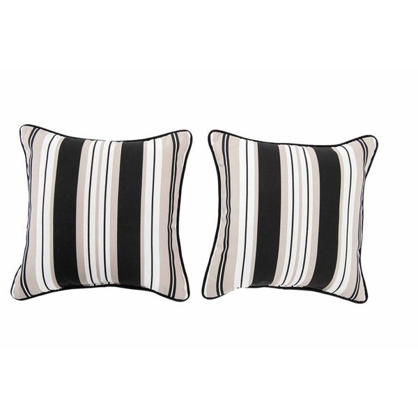 Shop Sunjoy Lancaster Stripe Black Beige 2 Piece Outdoor Pillow Set