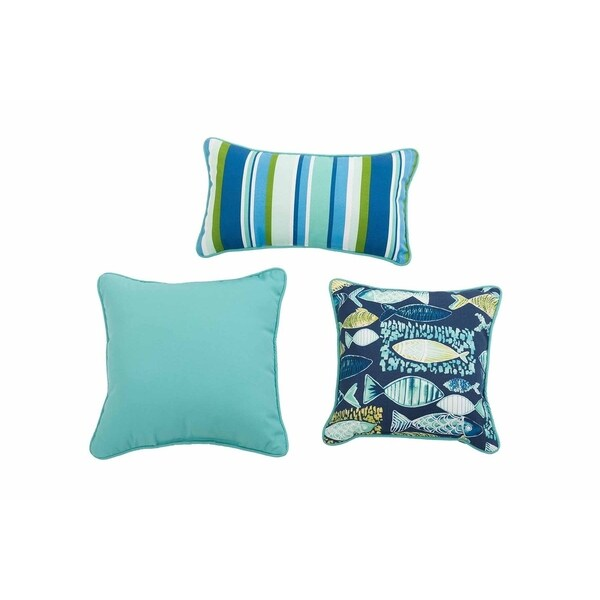 Shop Sunjoy Hooked Lagoon Blue Green 3 Piece Outdoor Pillow Set