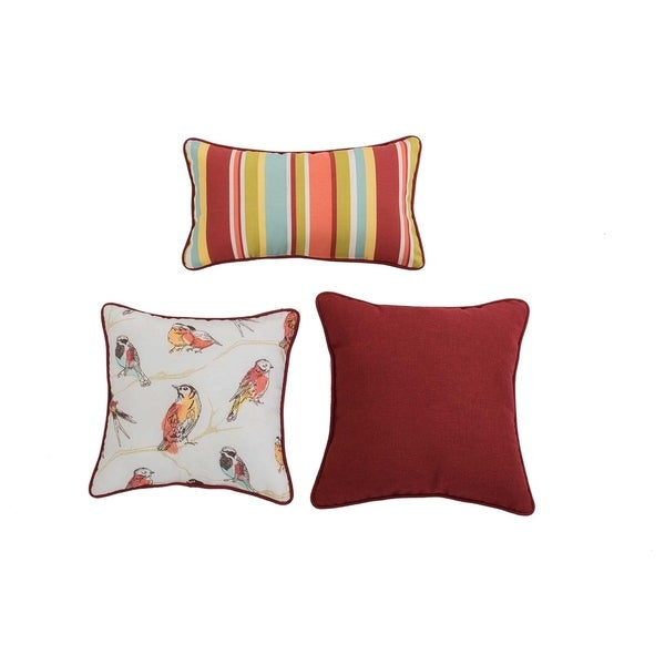 Shop Sunjoy Perch Jubilee Red 3 Piece Outdoor Pillow Set On Sale
