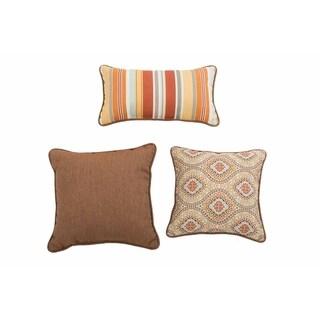 Sunjoy Magic Carpet Orange/ Brown 3 Piece Outdoor Pillow Set