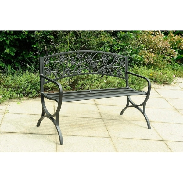 Ordinaire Sunjoy Wrought Iron Outdoor Steel Accent Bench