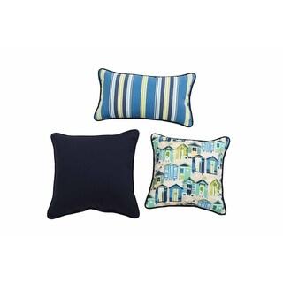 Sunjoy Beach Club Blue/ Yellow 3 Piece Outdoor Pillow Set