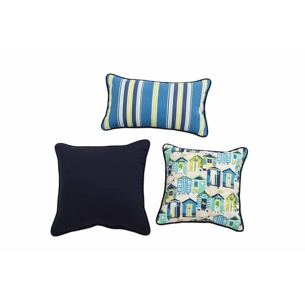 Shop Sunjoy Beach Club Blue Yellow 3 Piece Outdoor Pillow Set