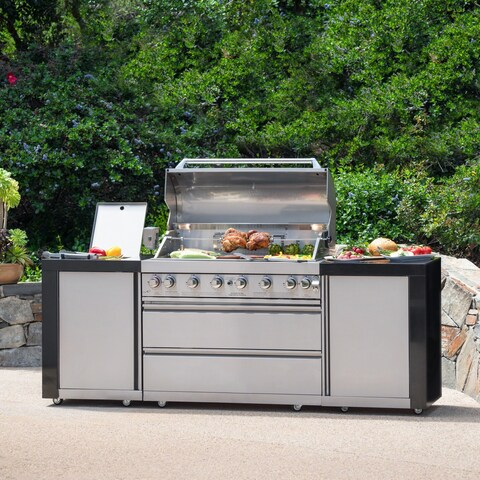 Lenny Outdoor 8-Burner Stainless Steel BBQ Gas Grill by Christopher Knight Home