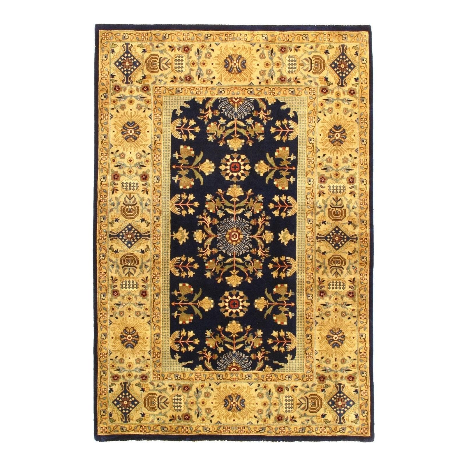 Pasargad DC Tabriz Design Silk and Wool Rug - 4 x 51 - 4 x 51 (4 x 51 - Navy/Gold)