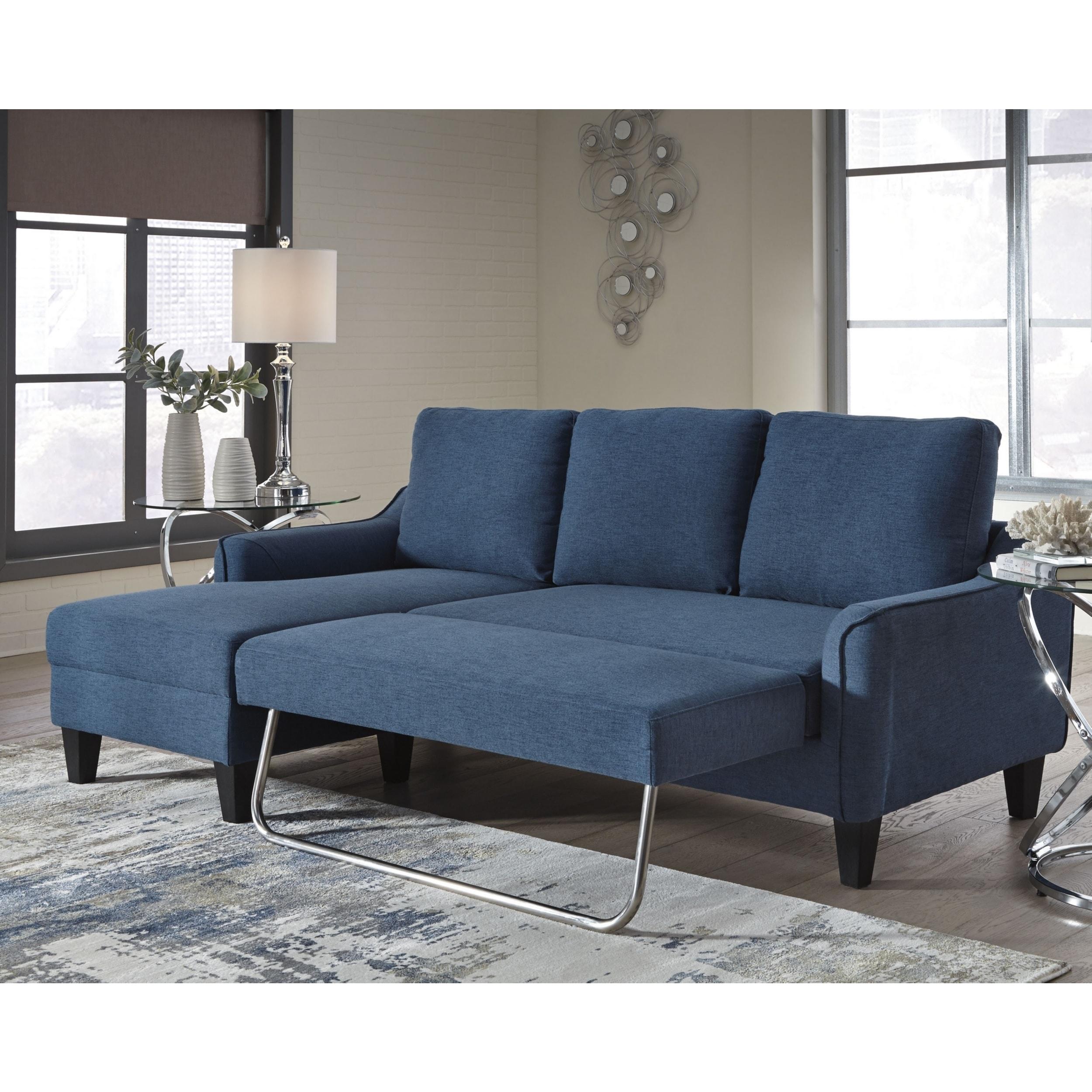 Jarreau Contemporary Blue Sofa Chaise Sleeper