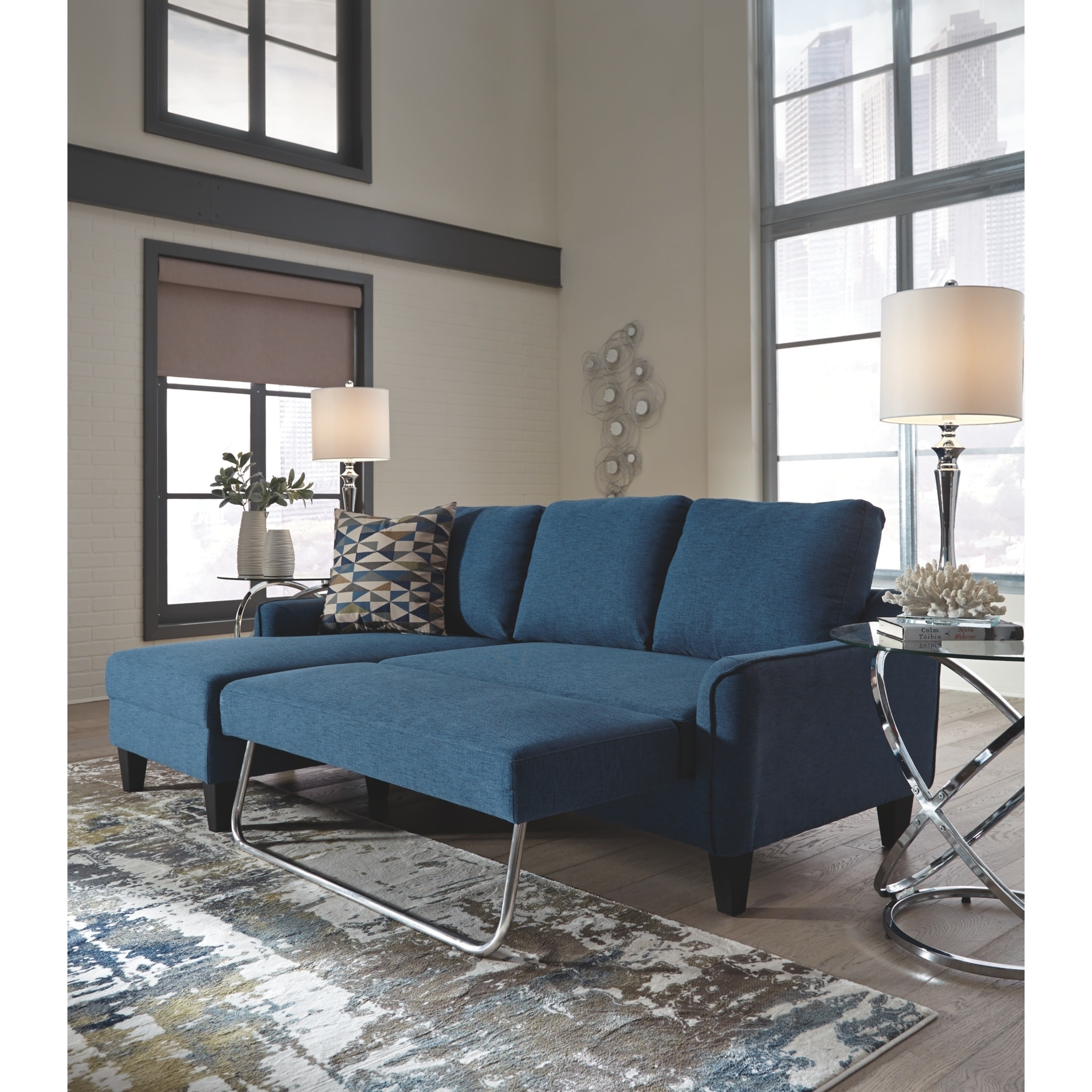 Picture of: Jarreau Contemporary Blue Sofa Chaise Sleeper Overstock 21012426