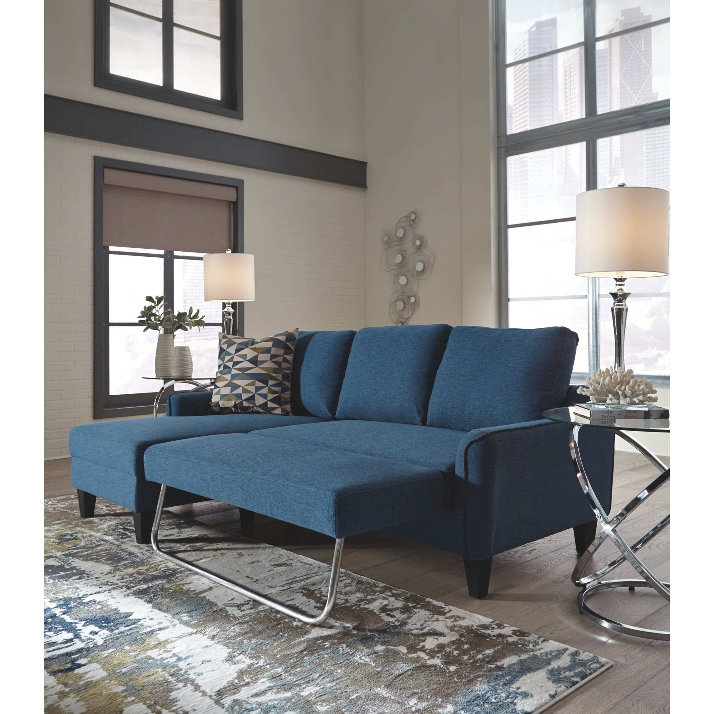Jarreau Contemporary Blue Sofa Chaise Sleeper Overstock 21012426