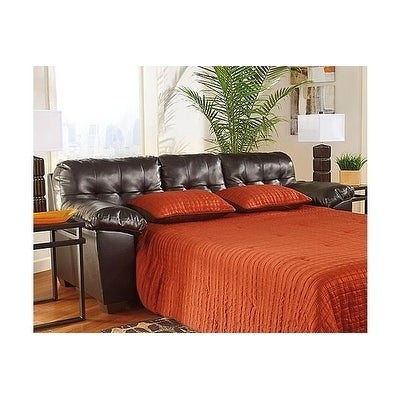 Signature Design by Ashely Alliston Chocolate DuraBlend Faux-leather Queen Contemporary Sofa Sleeper